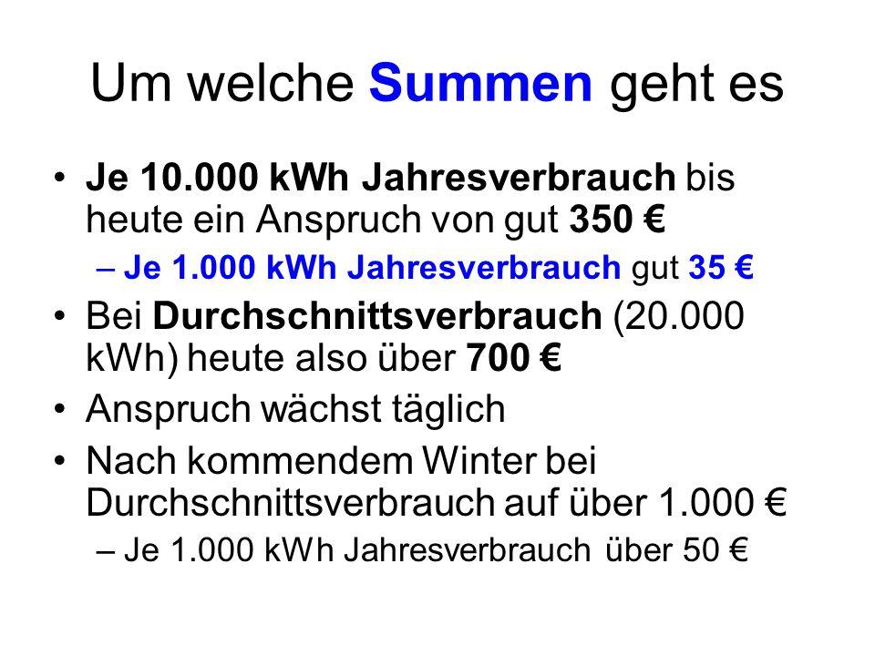 Um welche Summen geht es Je 10.000 kWh Jahresverbrauch bis heute ein Anspruch von gut 350 –Je 1.000 kWh Jahresverbrauch gut 35 Bei Durchschnittsverbra