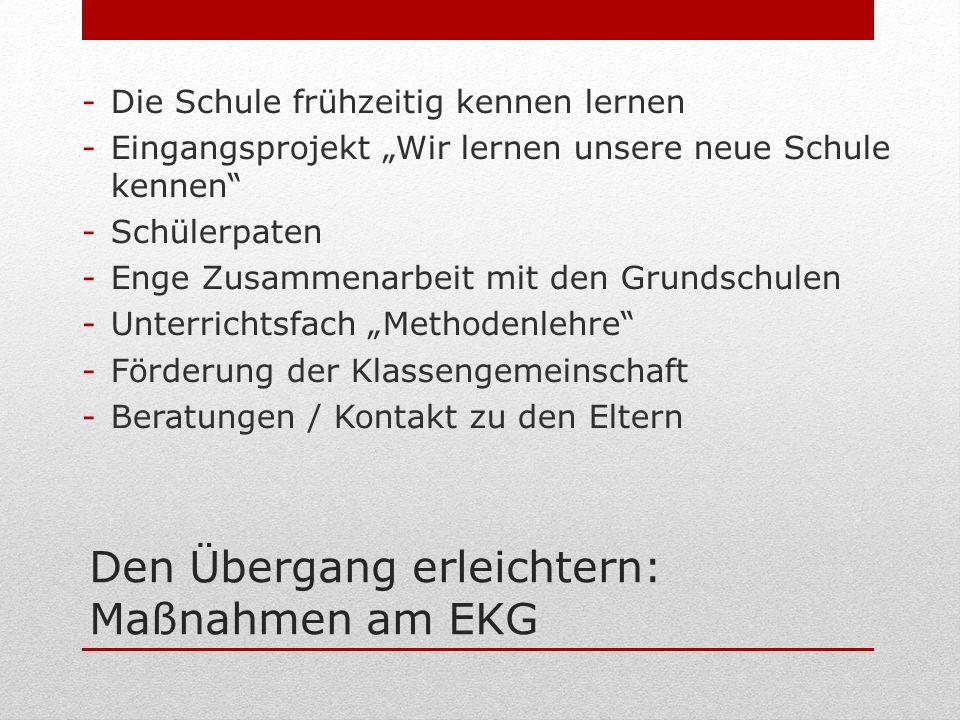 Den Übergang erleichtern: Maßnahmen am EKG -Die Schule frühzeitig kennen lernen -Eingangsprojekt Wir lernen unsere neue Schule kennen -Schülerpaten -E
