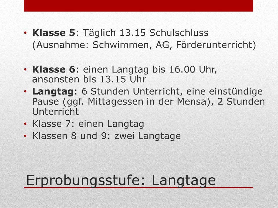 Erprobungsstufe: Langtage Klasse 5: Täglich 13.15 Schulschluss (Ausnahme: Schwimmen, AG, Förderunterricht) Klasse 6: einen Langtag bis 16.00 Uhr, anso