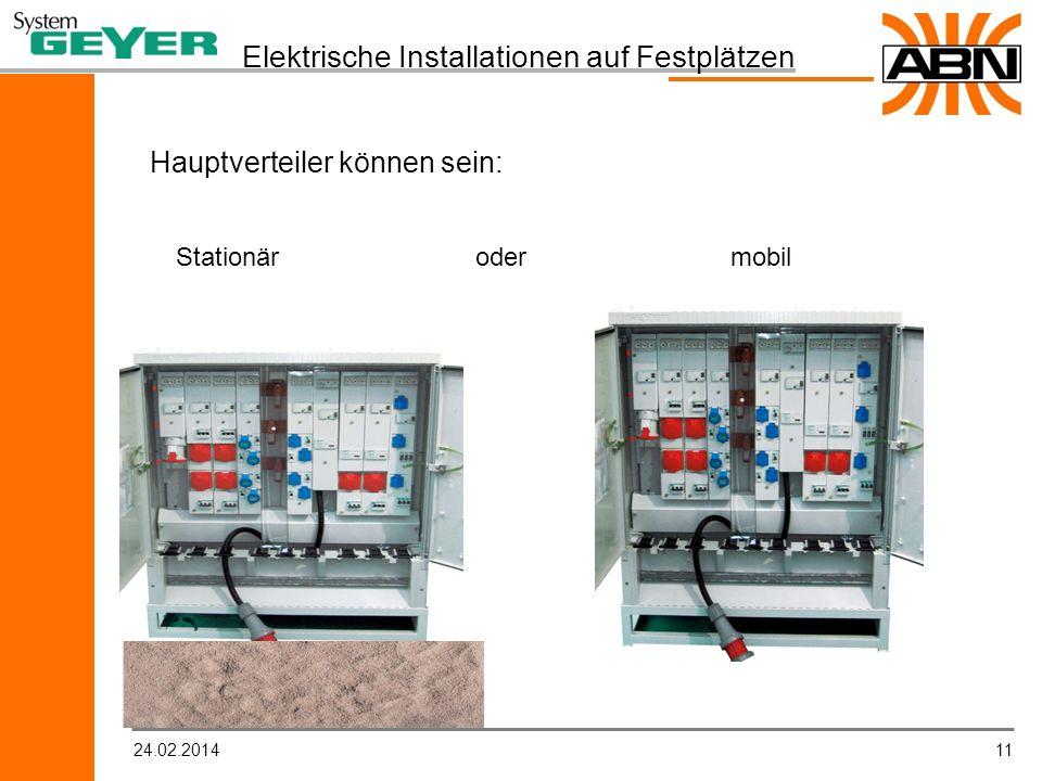 1124.02.2014 Elektrische Installationen auf Festplätzen Hauptverteiler können sein: Stationär oder mobil