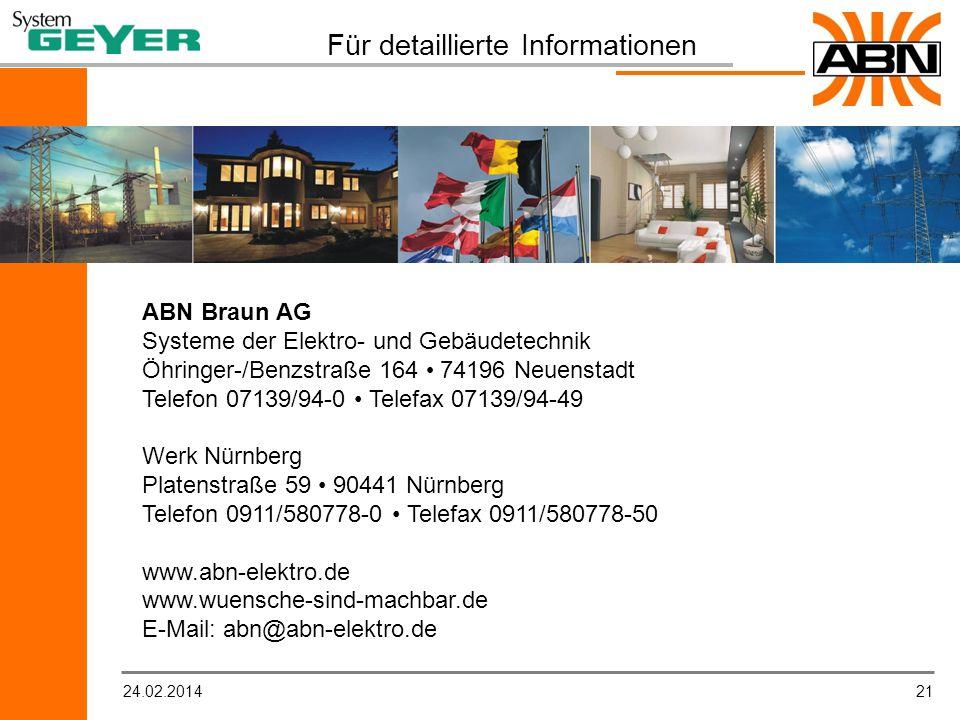 2124.02.2014 Für detaillierte Informationen ABN Braun AG Systeme der Elektro- und Gebäudetechnik Öhringer-/Benzstraße 164 74196 Neuenstadt Telefon 07139/94-0 Telefax 07139/94-49 Werk Nürnberg Platenstraße 59 90441 Nürnberg Telefon 0911/580778-0 Telefax 0911/580778-50 www.abn-elektro.de www.wuensche-sind-machbar.de E-Mail: abn@abn-elektro.de