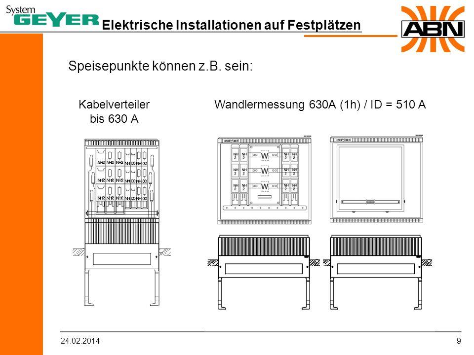 924.02.2014 Elektrische Installationen auf Festplätzen Kabelverteiler bis 630 A Speisepunkte können z.B. sein: Wandlermessung 630A (1h) / ID = 510 A