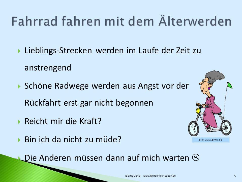 Vorsicht Gefahr: Radl- und Pedelec-Fahrer überholen sich gegenseitig oft mit Ausweichen auf die Fahrbahn ohne umzuschauen Fahrbahn Mindestbreite 4,25m Schutzstreifen Mindestbreite 1,25m 46 Isolde Lang www.fahrschüler-coach.de