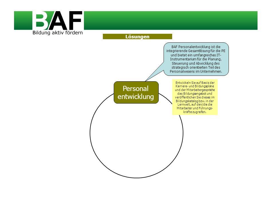 Personal entwicklung BAF Personalentwicklung ist die integrierende Gesamtlösung für die PE und bietet ein umfangreiches IT- Instrumentarium für die Pl