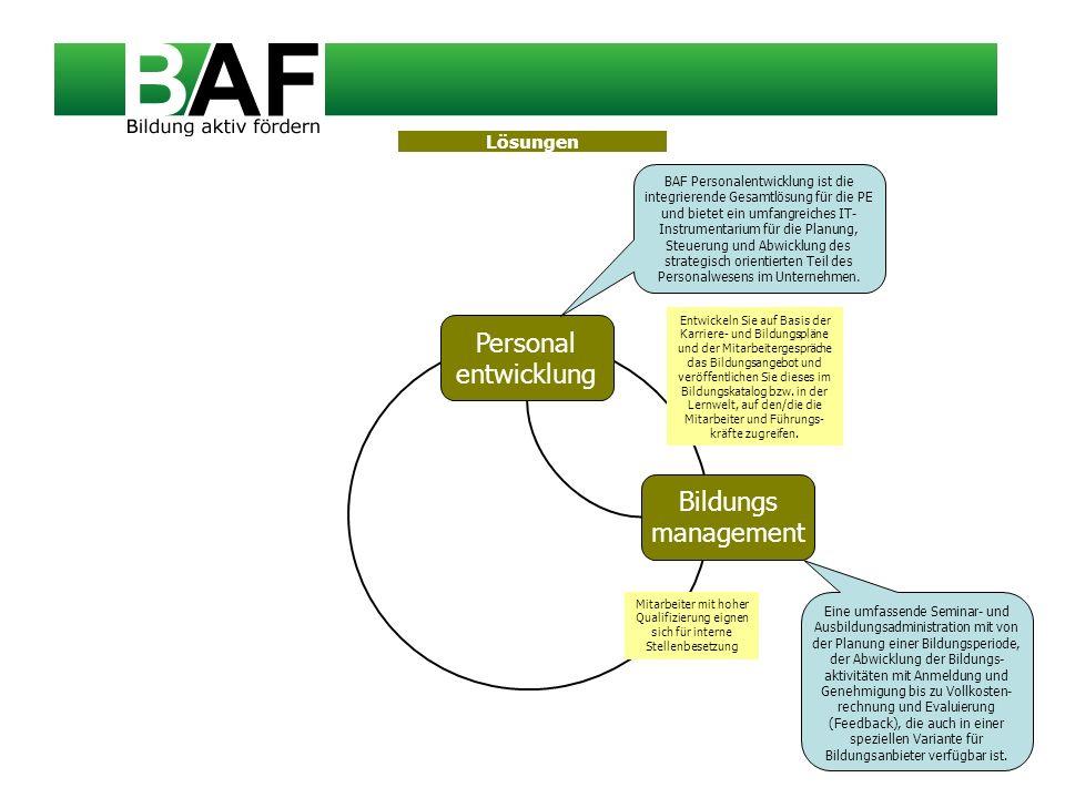 Personal entwicklung Bildungs management BAF Personalentwicklung ist die integrierende Gesamtlösung für die PE und bietet ein umfangreiches IT- Instru