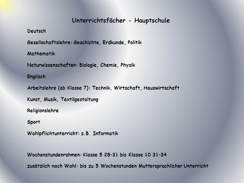Deutsch Gesellschaftslehre: Geschichte, Erdkunde, Politik Mathematik Naturwissenschaften: Biologie, Chemie, Physik Englisch Arbeitslehre (ab Klasse 7)