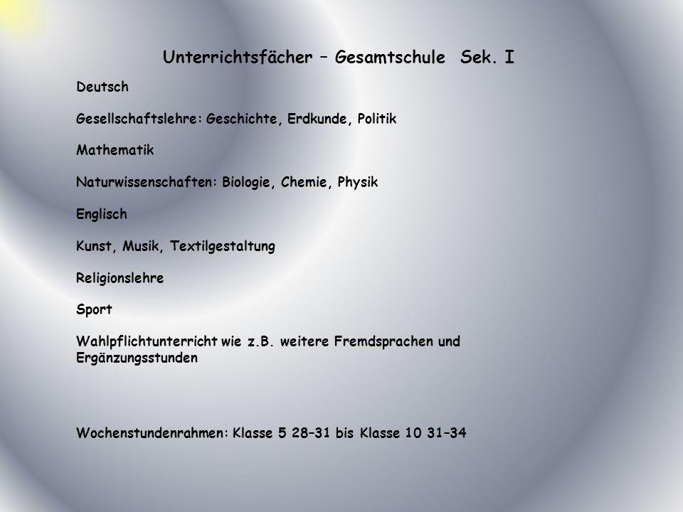 Unterrichtsfächer – Gesamtschule Sek. I Deutsch Gesellschaftslehre: Geschichte, Erdkunde, Politik Mathematik Naturwissenschaften: Biologie, Chemie, Ph