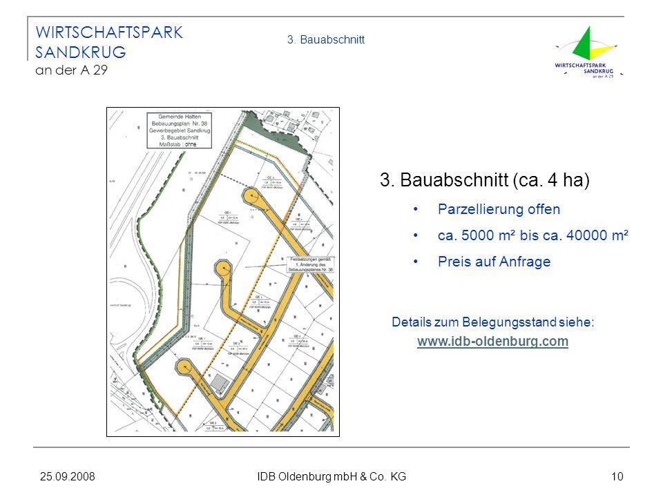 25.09.2008 IDB Oldenburg mbH & Co. KG 10 3. Bauabschnitt 3. Bauabschnitt (ca. 4 ha) Parzellierung offen ca. 5000 m² bis ca. 40000 m² Preis auf Anfrage