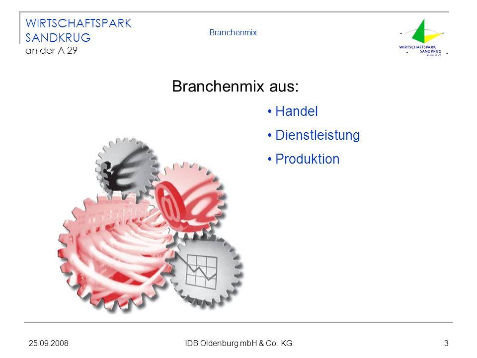 25.09.2008 IDB Oldenburg mbH & Co. KG 3 Branchenmix Branchenmix aus: Handel Dienstleistung Produktion WIRTSCHAFTSPARK SANDKRUG an der A 29