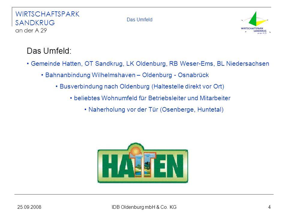 25.09.2008 IDB Oldenburg mbH & Co. KG 4 Das Umfeld Das Umfeld: Gemeinde Hatten, OT Sandkrug, LK Oldenburg, RB Weser-Ems, BL Niedersachsen Bahnanbindun