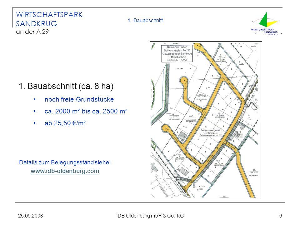 25.09.2008 IDB Oldenburg mbH & Co. KG 6 1. Bauabschnitt 1. Bauabschnitt (ca. 8 ha) noch freie Grundstücke ca. 2000 m² bis ca. 2500 m² ab 25,50 /m² WIR