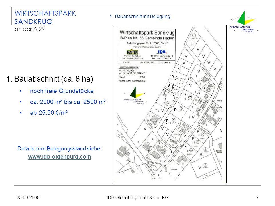 25.09.2008 IDB Oldenburg mbH & Co. KG 7 1. Bauabschnitt mit Belegung 1. Bauabschnitt (ca. 8 ha) noch freie Grundstücke ca. 2000 m² bis ca. 2500 m² ab