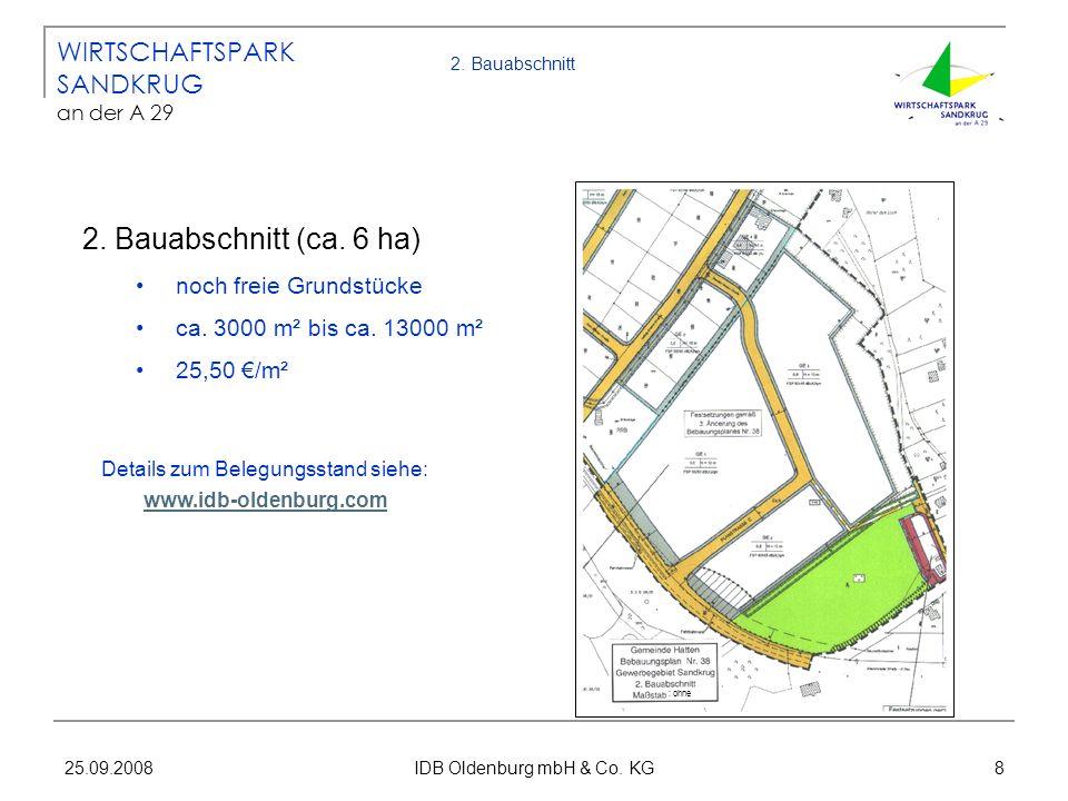25.09.2008 IDB Oldenburg mbH & Co. KG 8 WIRTSCHAFTSPARK SANDKRUG an der A 29 Details zum Belegungsstand siehe: www.idb-oldenburg.com www.idb-oldenburg