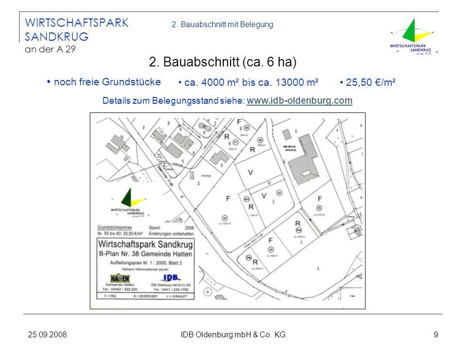 25.09.2008 IDB Oldenburg mbH & Co. KG 9 2. Bauabschnitt mit Belegung 2. Bauabschnitt (ca. 6 ha) WIRTSCHAFTSPARK SANDKRUG an der A 29 ca. 4000 m² bis c