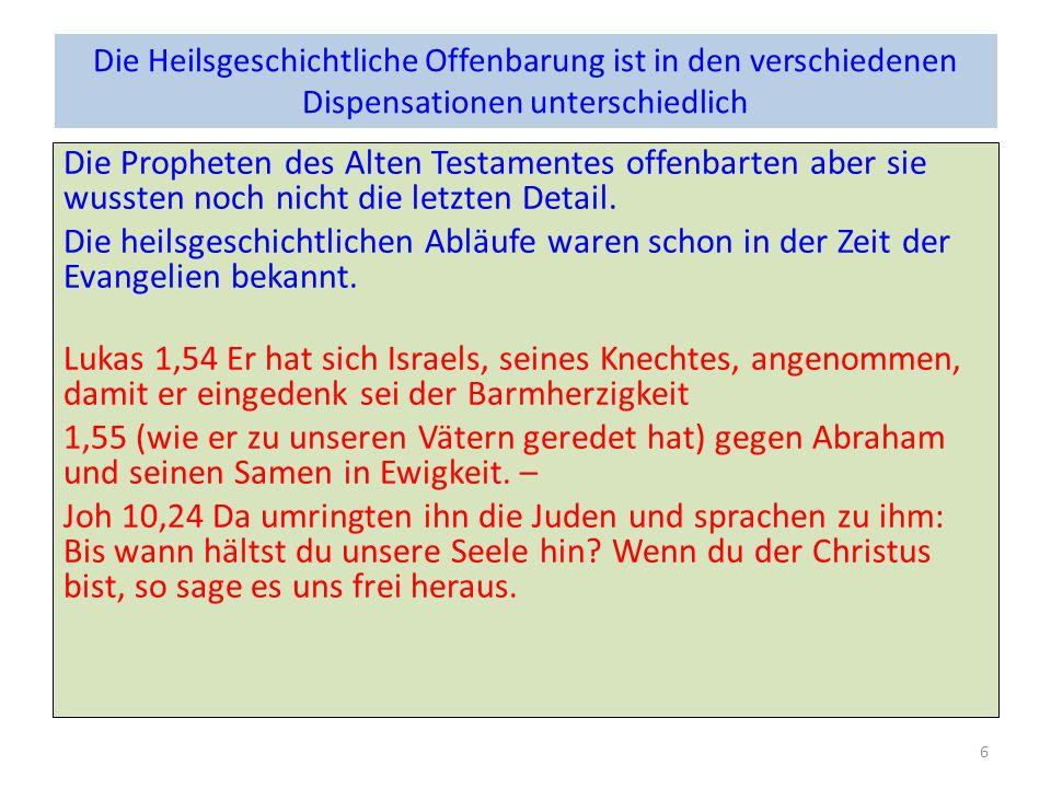 Heilsgeschichte in: Königreich der Himmelgleichnisse Endzeitrede zB.: Mt 24 & 25 Prophetie auf den Herrn selbst Erfüllungen von heilsgeschichtlichen Offenbarungen Apg 2,25 -31 Apg 3,20 Offenbarungen durch die Dispensationen hindurch: Mt 1,1 -17 Paulus Blick zurück und voran: Röm 9-11 7
