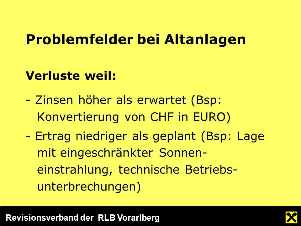 Revisionsverband der RLB Vorarlberg Problemfelder bei Altanlagen Verluste weil: - Zinsen höher als erwartet (Bsp: Konvertierung von CHF in EURO) - Ertrag niedriger als geplant (Bsp: Lage mit eingeschränkter Sonnen- einstrahlung, technische Betriebs- unterbrechungen)