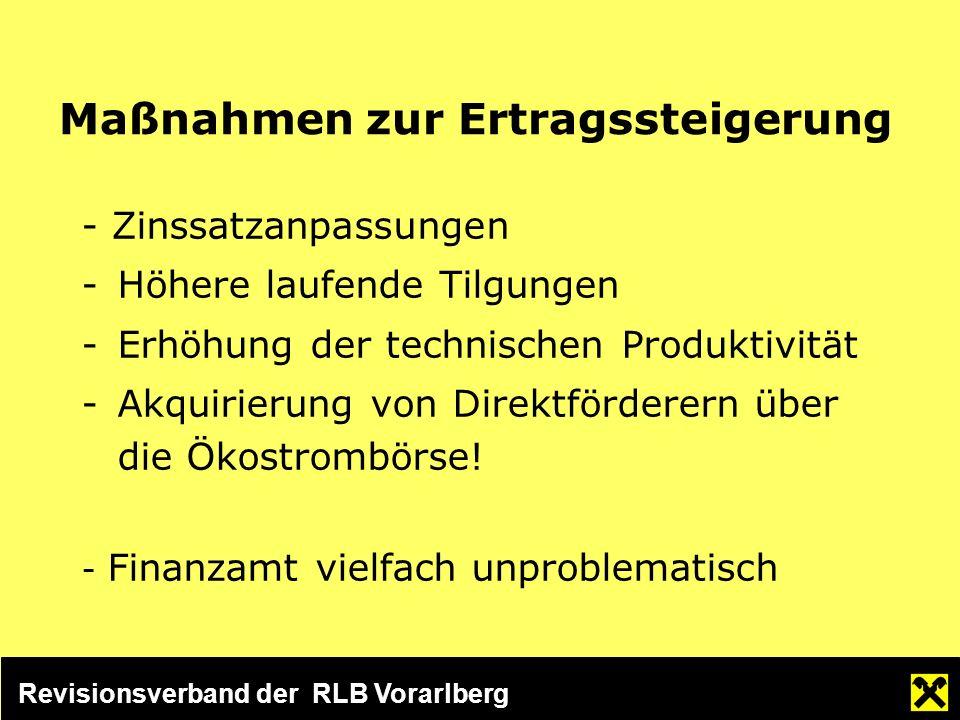 Revisionsverband der RLB Vorarlberg Maßnahmen zur Ertragssteigerung - Zinssatzanpassungen -Höhere laufende Tilgungen -Erhöhung der technischen Produktivität -Akquirierung von Direktförderern über die Ökostrombörse.