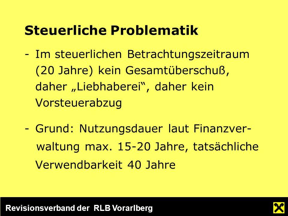 Revisionsverband der RLB Vorarlberg Steuerliche Problematik -Im steuerlichen Betrachtungszeitraum (20 Jahre) kein Gesamtüberschuß, daher Liebhaberei, daher kein Vorsteuerabzug -Grund: Nutzungsdauer laut Finanzver- waltung max.