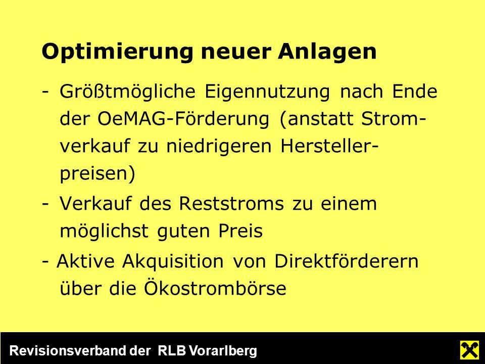 Revisionsverband der RLB Vorarlberg Optimierung neuer Anlagen -Größtmögliche Eigennutzung nach Ende der OeMAG-Förderung (anstatt Strom- verkauf zu niedrigeren Hersteller- preisen) -Verkauf des Reststroms zu einem möglichst guten Preis - Aktive Akquisition von Direktförderern über die Ökostrombörse