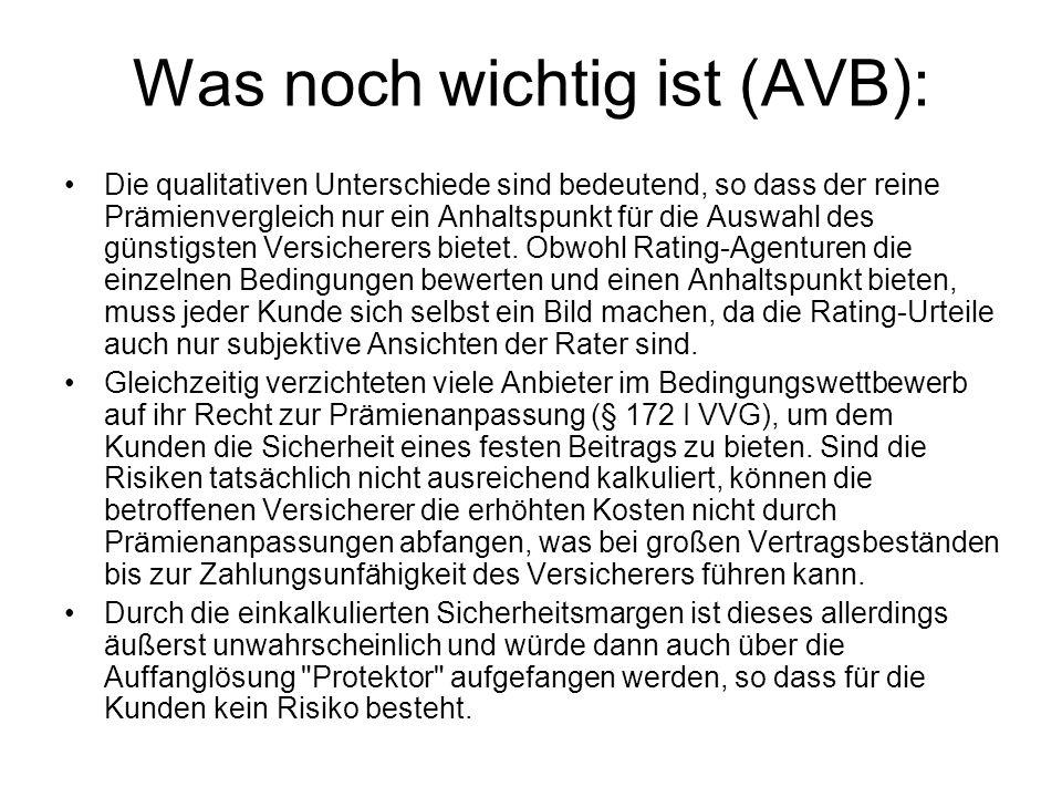 Was noch wichtig ist (AVB): Die qualitativen Unterschiede sind bedeutend, so dass der reine Prämienvergleich nur ein Anhaltspunkt für die Auswahl des