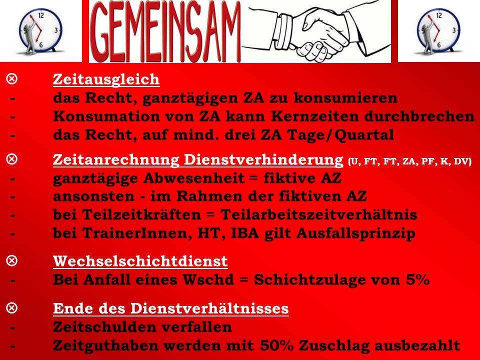 Zeitausgleich - das Recht, ganztägigen ZA zu konsumieren - Konsumation von ZA kann Kernzeiten durchbrechen - das Recht, auf mind. drei ZA Tage/Quartal