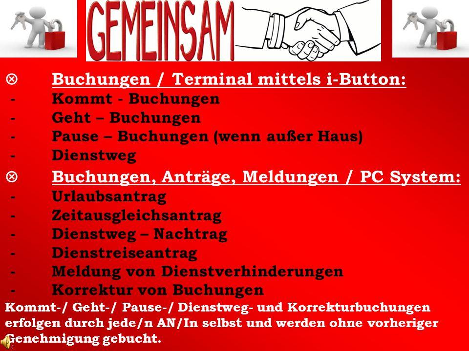 Buchungen / Terminal mittels i-Button: - Kommt - Buchungen - Geht – Buchungen - Pause – Buchungen (wenn außer Haus) - Dienstweg Buchungen, Anträge, Me
