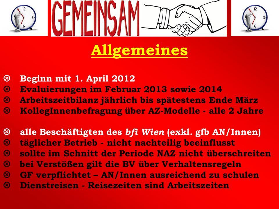 Allgemeines Beginn mit 1. April 2012 Evaluierungen im Februar 2013 sowie 2014 Arbeitszeitbilanz jährlich bis spätestens Ende März KollegInnenbefragung