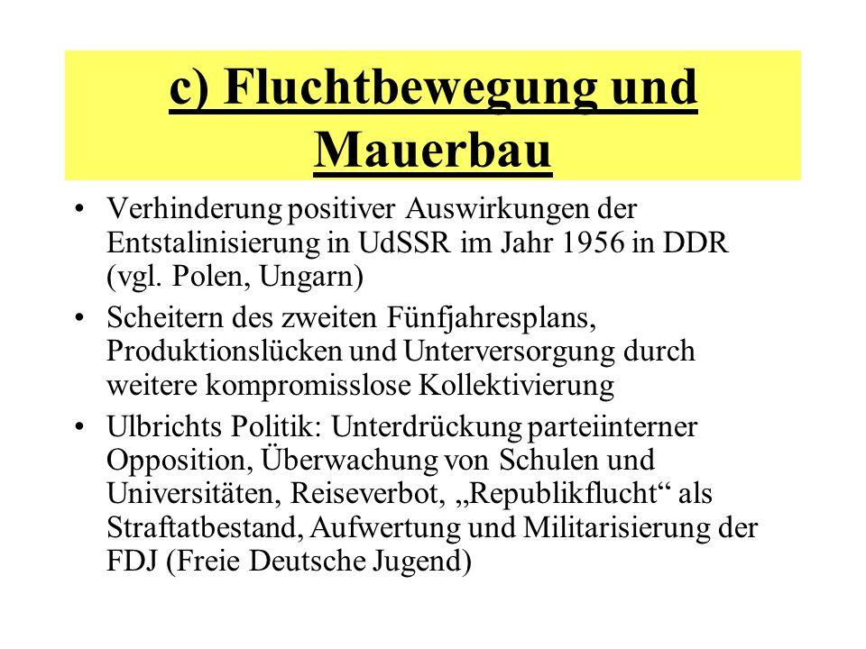 c) Fluchtbewegung und Mauerbau Verhinderung positiver Auswirkungen der Entstalinisierung in UdSSR im Jahr 1956 in DDR (vgl. Polen, Ungarn) Scheitern d