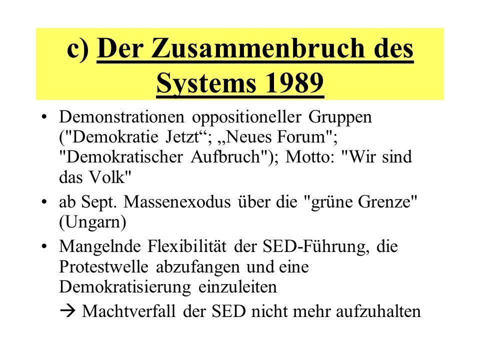 c) Der Zusammenbruch des Systems 1989 Demonstrationen oppositioneller Gruppen (