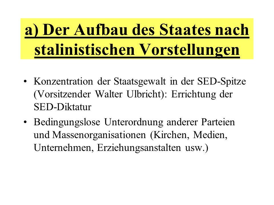 a) Der Aufbau des Staates nach stalinistischen Vorstellungen Konzentration der Staatsgewalt in der SED-Spitze (Vorsitzender Walter Ulbricht): Errichtu