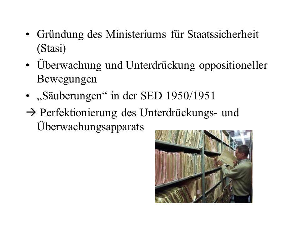 Gründung des Ministeriums für Staatssicherheit (Stasi) Überwachung und Unterdrückung oppositioneller Bewegungen Säuberungen in der SED 1950/1951 Perfe