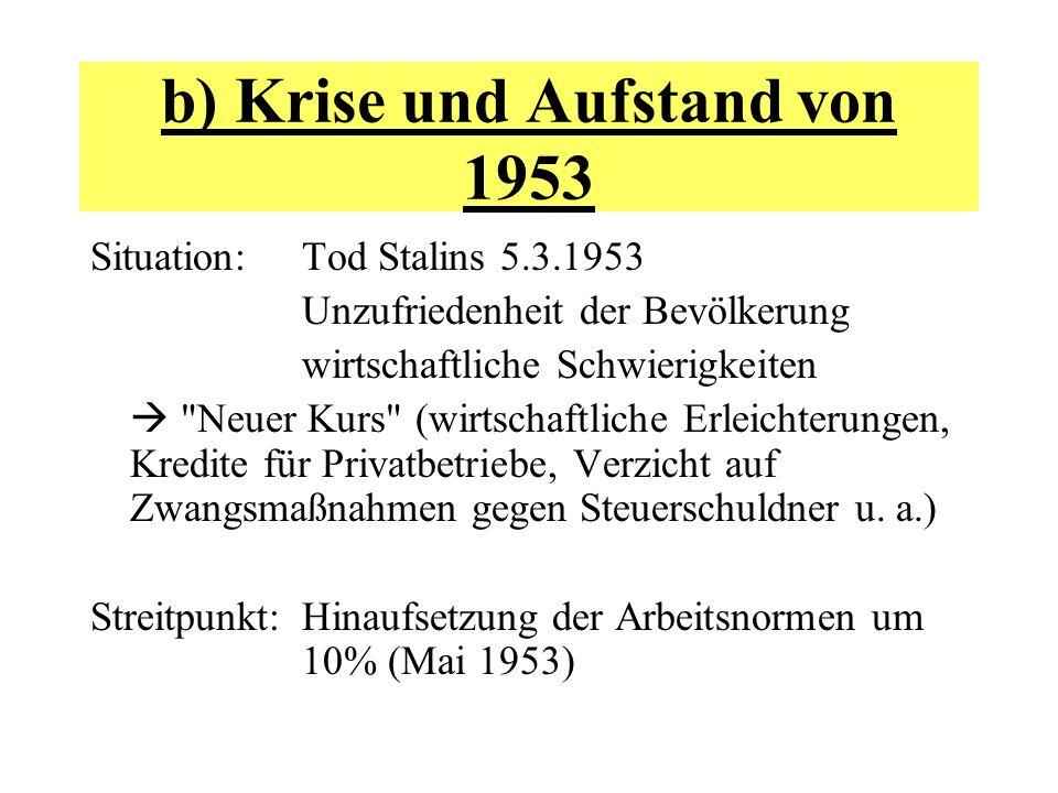 b) Krise und Aufstand von 1953 Situation: Tod Stalins 5.3.1953 Unzufriedenheit der Bevölkerung wirtschaftliche Schwierigkeiten