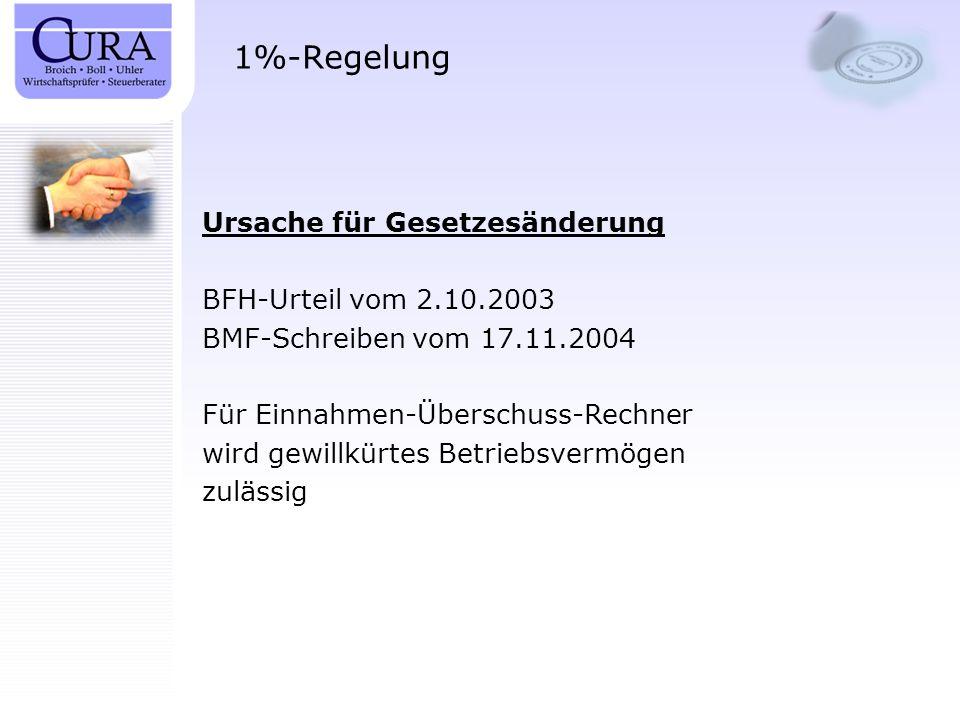 1%-Regelung Ursache für Gesetzesänderung BFH-Urteil vom 2.10.2003 BMF-Schreiben vom 17.11.2004 Für Einnahmen-Überschuss-Rechner wird gewillkürtes Betr