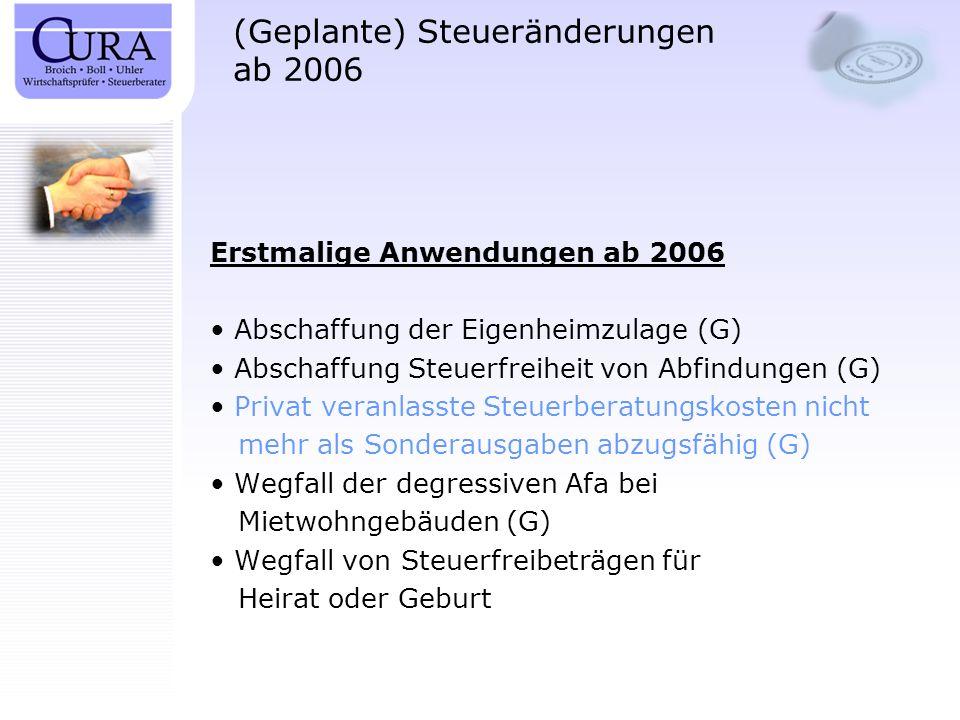 (Geplante) Steueränderungen ab 2006 Erstmalige Anwendungen ab 2006 Abschaffung der Eigenheimzulage (G) Abschaffung Steuerfreiheit von Abfindungen (G)