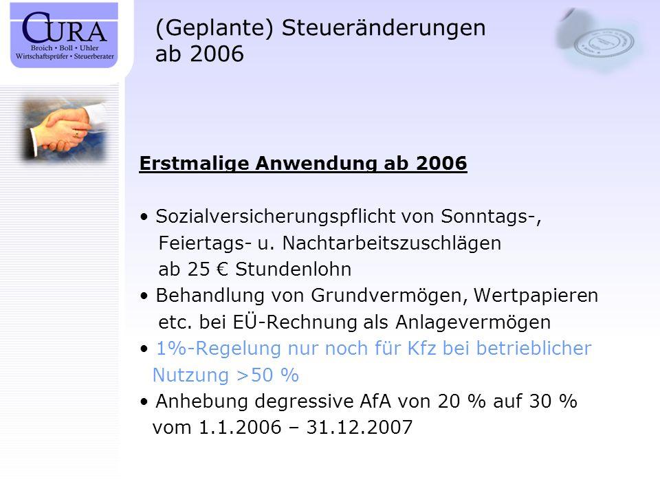 (Geplante) Steueränderungen ab 2006 Erstmalige Anwendung ab 2006 Sozialversicherungspflicht von Sonntags-, Feiertags- u. Nachtarbeitszuschlägen ab 25