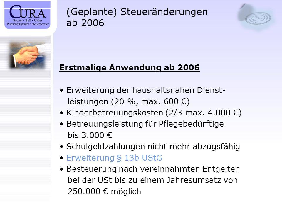 (Geplante) Steueränderungen ab 2006 Erstmalige Anwendung ab 2007 Wegfall von Steuerfreibeträgen für: – Bergmannsprämien – Auslandszuschläge Aufhebung von Rückstellungen für Jubiläums- zuwendungen Einschränkung von Aufwendungen für ein häusliches Arbeitszimmer Streichung von Entfernungspauschale für die ersten 20 Kilometer