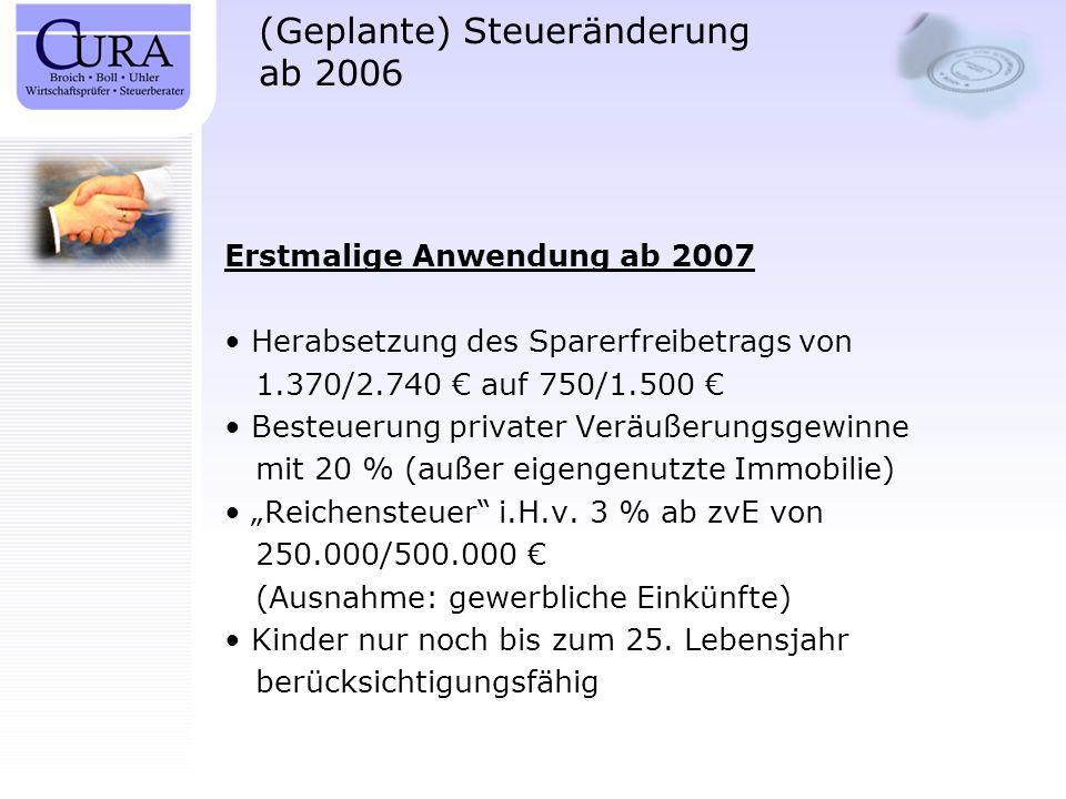 (Geplante) Steueränderung ab 2006 Erstmalige Anwendung ab 2007 Herabsetzung des Sparerfreibetrags von 1.370/2.740 auf 750/1.500 Besteuerung privater V