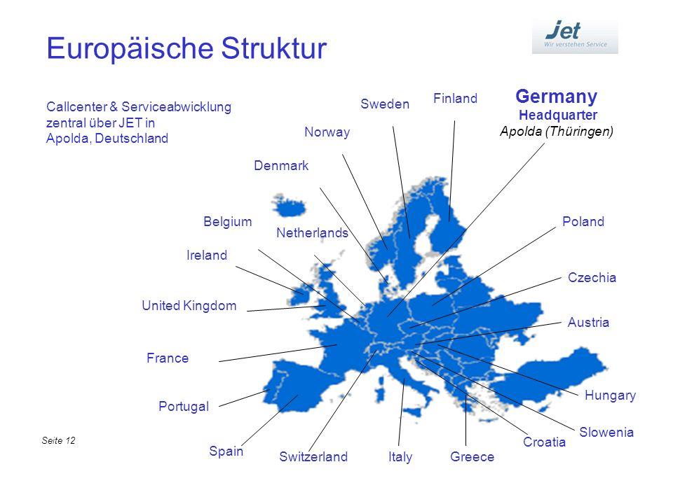 Europäische Struktur Germany Headquarter Apolda (Thüringen) Denmark Netherlands Belgium Ireland United Kingdom France Portugal Spain SwitzerlandItaly
