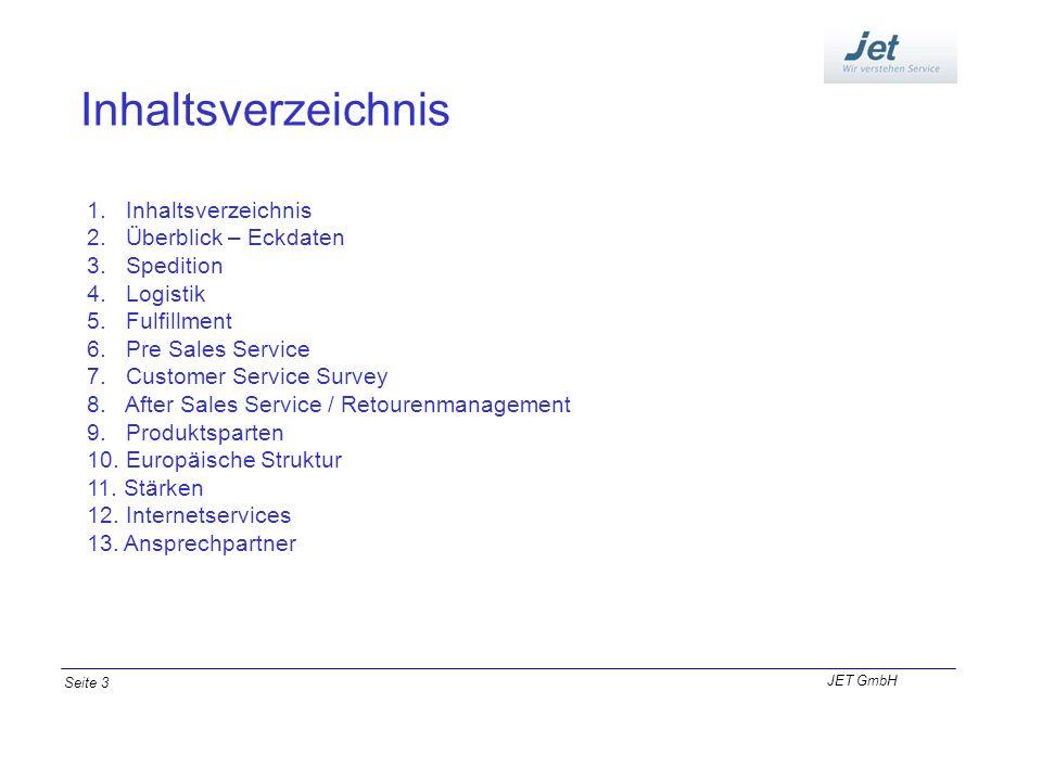 Inhaltsverzeichnis 1. Inhaltsverzeichnis 2. Überblick – Eckdaten 3. Spedition 4. Logistik 5. Fulfillment 6. Pre Sales Service 7. Customer Service Surv