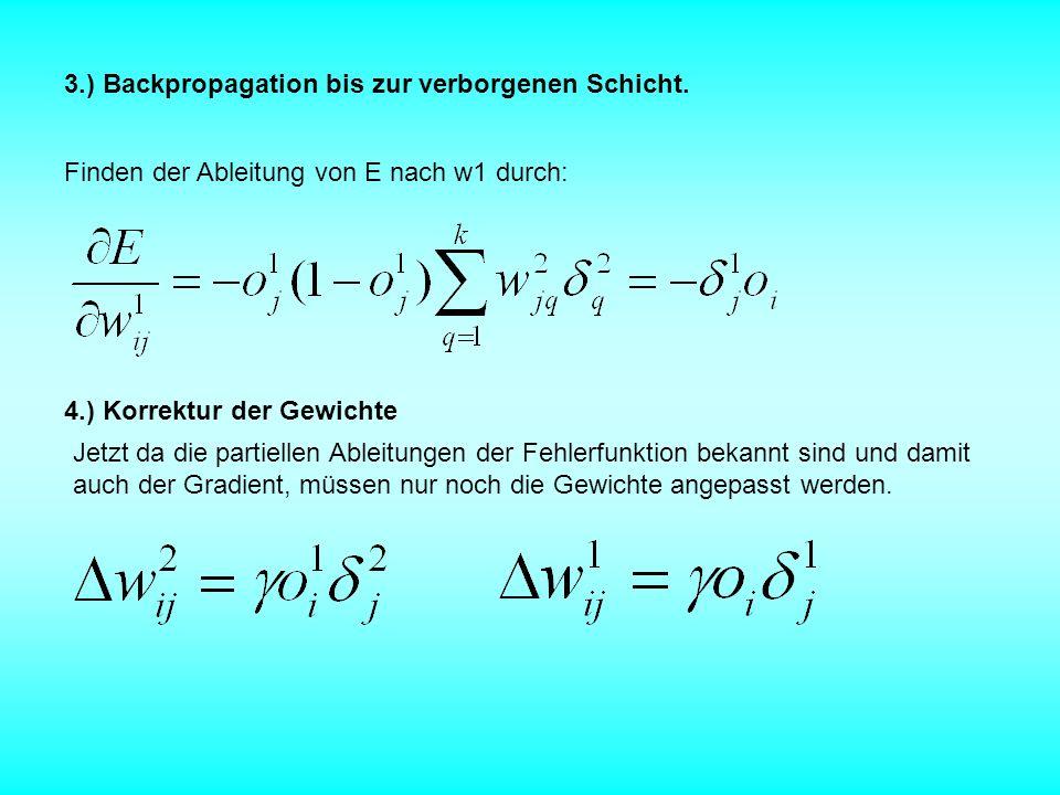3.) Backpropagation bis zur verborgenen Schicht. Finden der Ableitung von E nach w1 durch: 4.) Korrektur der Gewichte Jetzt da die partiellen Ableitun