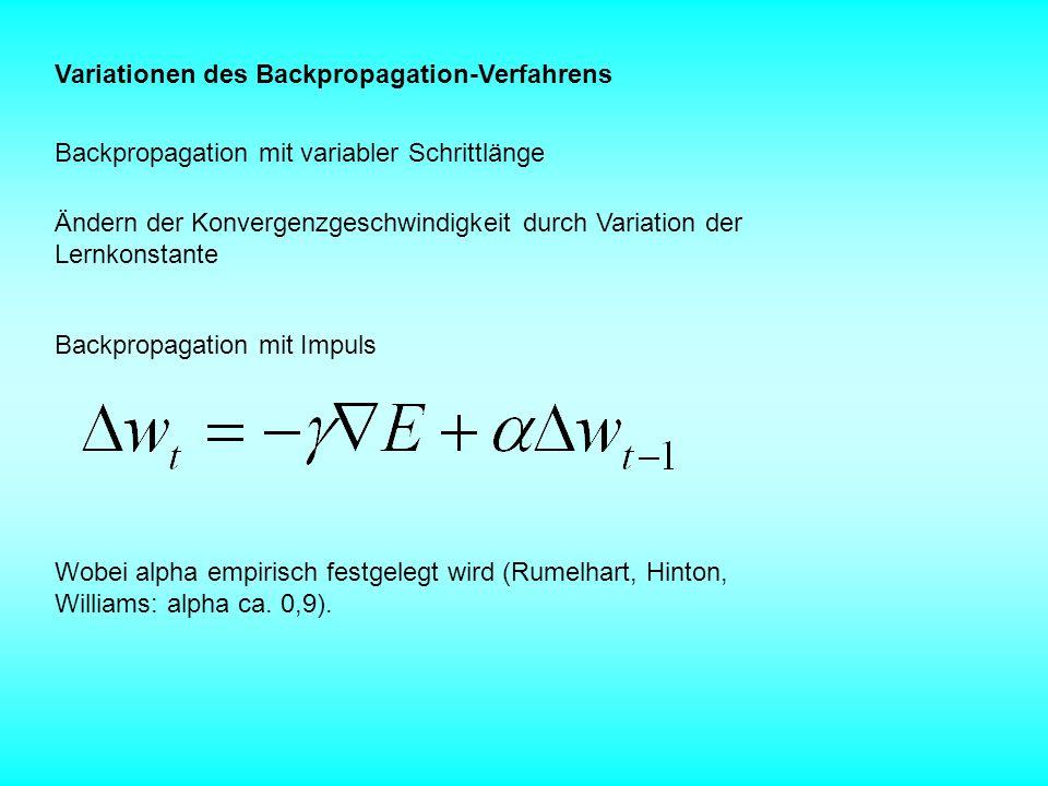 Variationen des Backpropagation-Verfahrens Backpropagation mit variabler Schrittlänge Ändern der Konvergenzgeschwindigkeit durch Variation der Lernkon