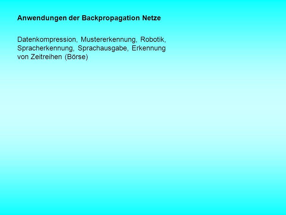 Anwendungen der Backpropagation Netze Datenkompression, Mustererkennung, Robotik, Spracherkennung, Sprachausgabe, Erkennung von Zeitreihen (Börse)