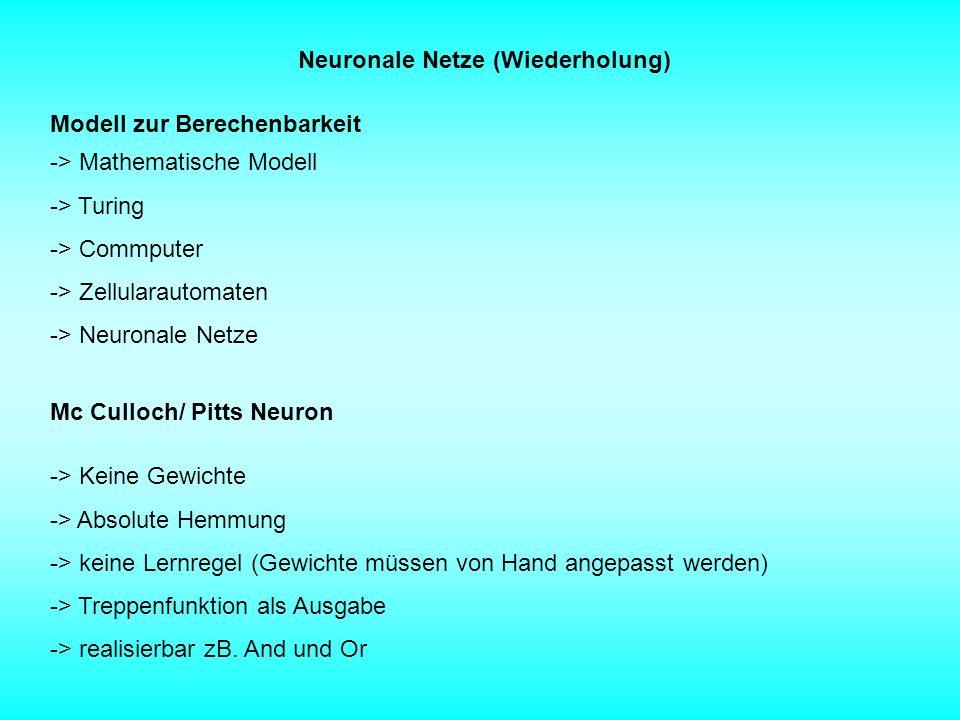 Neuronale Netze (Wiederholung) Modell zur Berechenbarkeit -> Mathematische Modell -> Turing -> Commputer -> Zellularautomaten -> Neuronale Netze Mc Cu
