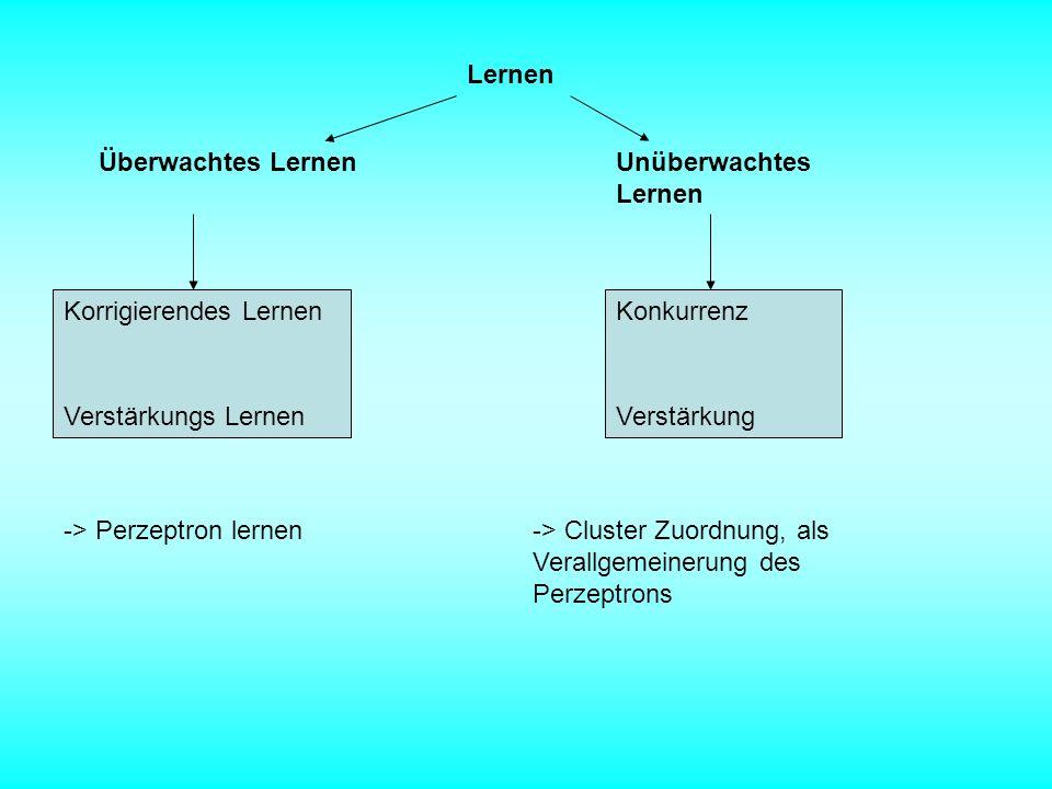 Lernen Überwachtes LernenUnüberwachtes Lernen Korrigierendes Lernen Verstärkungs Lernen Konkurrenz Verstärkung -> Perzeptron lernen-> Cluster Zuordnun