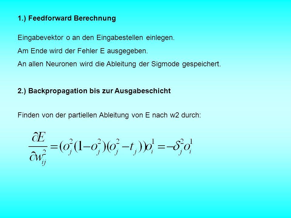 1.) Feedforward Berechnung Eingabevektor o an den Eingabestellen einlegen. Am Ende wird der Fehler E ausgegeben. An allen Neuronen wird die Ableitung