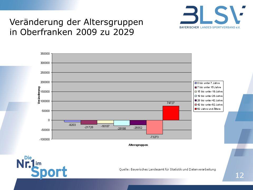 12 Quelle: Bayerisches Landesamt für Statistik und Datenverarbeitung Veränderung der Altersgruppen in Oberfranken 2009 zu 2029