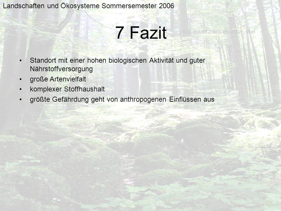 Landschaften und Ökosysteme Sommersemester 2006 7 Fazit Standort mit einer hohen biologischen Aktivität und guter Nährstoffversorgung große Artenvielf