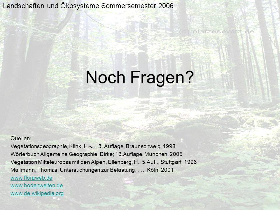 Landschaften und Ökosysteme Sommersemester 2006 Noch Fragen? Quellen: Vegetationsgeographie, Klink, H.-J.; 3. Auflage, Braunschweig, 1998 Wörterbuch A