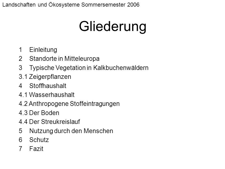 Landschaften und Ökosysteme Sommersemester 2006 1 Einleitung 2 Standorte in Mitteleuropa 3 Typische Vegetation in Kalkbuchenwäldern 3.1 Zeigerpflanzen