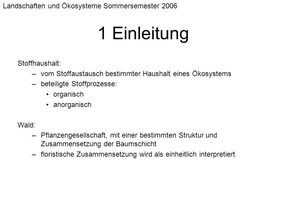 Landschaften und Ökosysteme Sommersemester 2006 1 Einleitung Stoffhaushalt: –vom Stoffaustausch bestimmter Haushalt eines Ökosystems –beteiligte Stoff